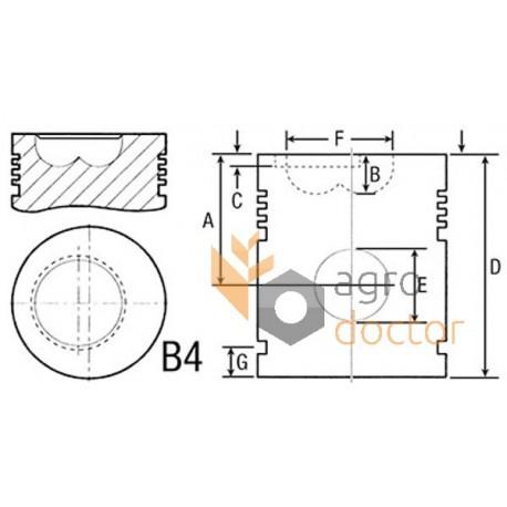 Piston 106,5mm with wrist pin (set)