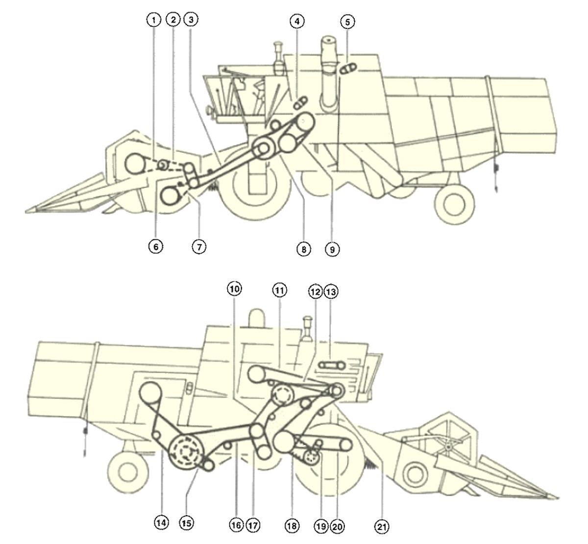 Combine Harvester Schematic : Combine harvester claas consul drive layout of belts and